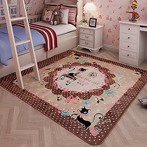 Alfombra de gamuza coral alfombra dormitorio infantil Sala Sala de estar alfombra juego de dibujos animados animación japonés y Coreano , coral velvet brown cat ,