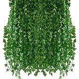 Homvik Plantas Hiedras Enredaderas Artificiales 24Pcsx2.2m Plantas Colgantes Artificiales Guirnalda para Decoración Exterior Boda Hogar Seto Jardín Escalera Ventana Balcón...