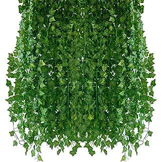 Homvik Plantas Hiedras Enredaderas Artificiales 24Pcsx2.2m Plantas Colgantes Artificiales Guirnalda para Decoración Exterior Boda Hogar Seto Jardín Escalera Ventana Balcón Valla Mesa Fiesta Interior