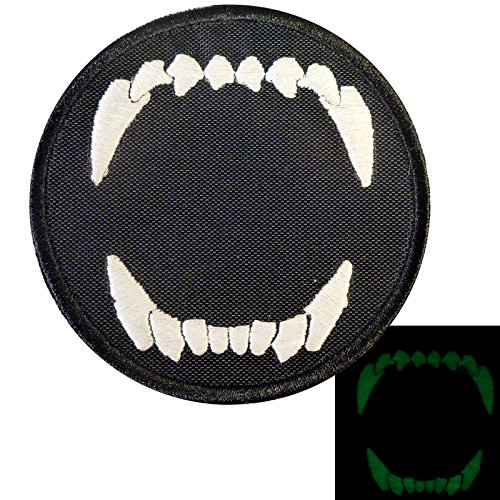 Glow Dark K9 Dog Teeth GITD Fear the Night Morale Tactical Embroidered Sew Iron on Patch