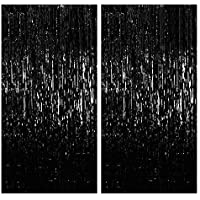 Party Propz Black Foil Curtain Pack of 2 for Birthday, Anniversary, Marriage, Bachelorette, Halloween Decoration