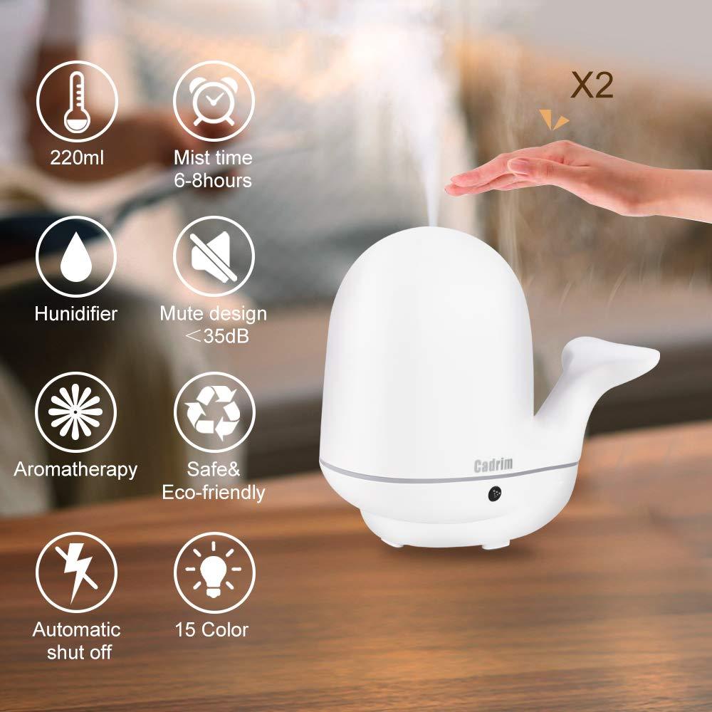 Cadrim Ultrasonic Humidifier Quiet Cool Mist Essential Oil Diffuser 7