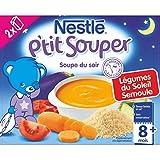 Nestlé Bébé P'tit Souper Semoule Légumes Soupe du Soir dès 8 Mois 2 x 250 ml