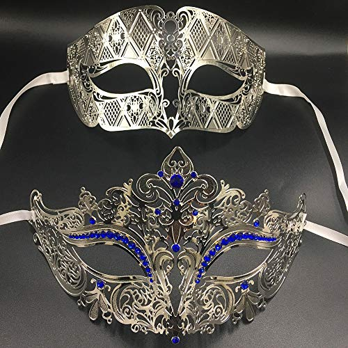 Zorux - Luxus Metall Filigrane Strasssteine Venezianische Maskenpaar Paare Maske Paar Ball Event Hochzeit Party Maske Lot Kostüm Herren Damen Silver Blue Diamond
