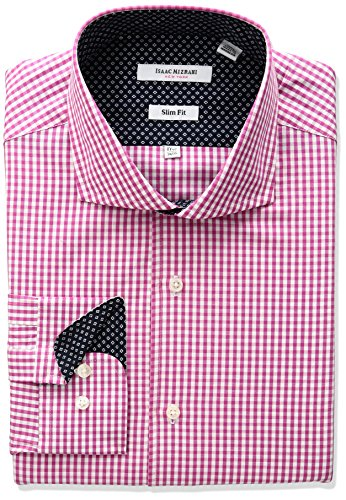 isaac-mizrahi-mens-slim-fit-classic-gingham-cut-away-collar-dress-shirt-cherry-165-neck-32-33-sleeve