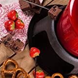 Andrew James Fondue Set for Cheese or Chocolate | 1300ml Red Enamelled Cast Iron Melting Pot with Gel Fuel Burner | Includes 8 Fondue Forks