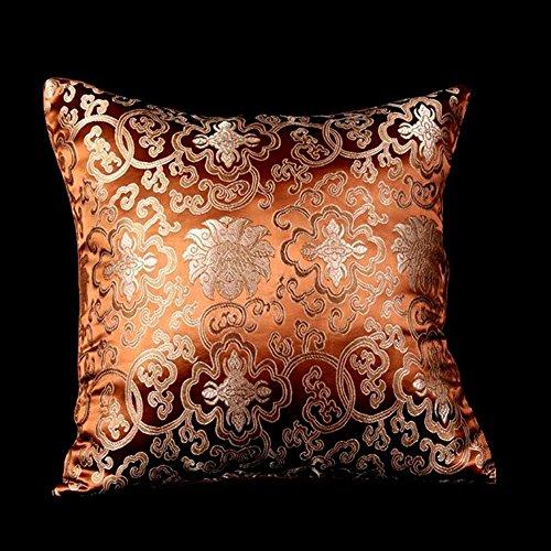 Lorenzo Cana Home Edition Kissenhülle aus Seide Braun Bronze - Barock Brokatstoff 9601388