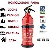 anafgroup EXTINTOR 1 K G ABC HOMOLOGADO para Coche Moto Barco Cocina CASA Caravana DE Aluminio con Soporte Y MANOMETRO Incend