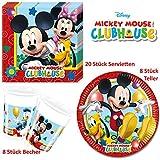Disney Mickey Mouse Micki Maus Party Deko Tischgeschirr 36 teilig Set Servietten Teller Becher für Kinder Geburtstag Partygeschirr 8 Personen