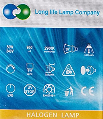 Long Life Lamp Company GU10 50 Watt Halogen TOP Brand Lamp Light Bulb (Pack of 10) [Energy Class C]