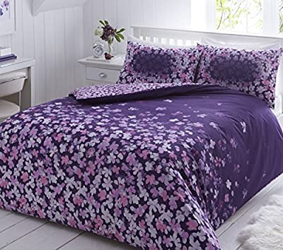 Pieridae Scattered Floral Purple Duvet Cover Pillowcase Set Bedding Quilt - low-cost UK light shop.