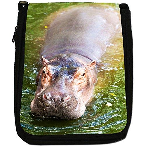 Ippopotamo Medium Nero Borsa In Tela, taglia M Hippo In Water
