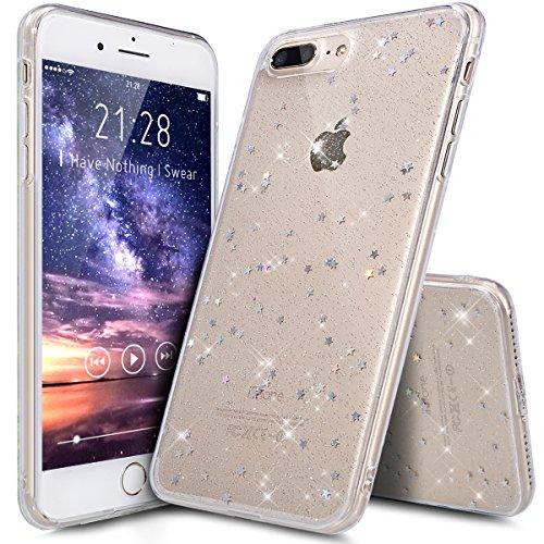 Kompatibel mit iPhone 8 Plus Hülle,iPhone 7 Plus Hülle,Shiny Glänzend Bling Glitzer Sterne Pailletten Diamant Durchsichtig TPU Silikon Hülle Handyhülle Schutzhülle für iPhone 8 Plus/7 Plus,Klar A