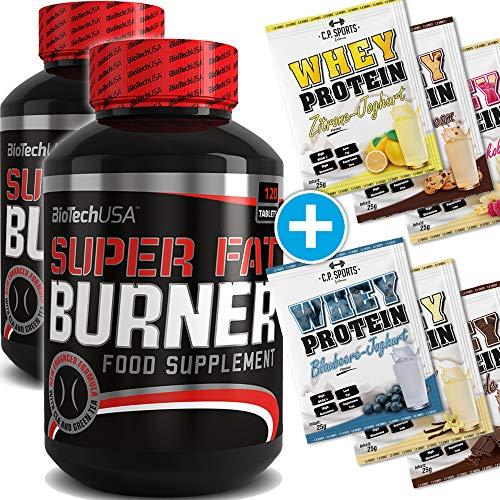 BioTech USA Super Burner 2er Pack, (2 x 120 Kapseln) + 6x C.P. Sports 25g Whey Protein Testbeutel