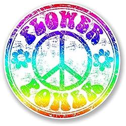 2x Peace Símbolo etiqueta auto hippie Laptop adhesivo VW Camper Flower hippie # 6780