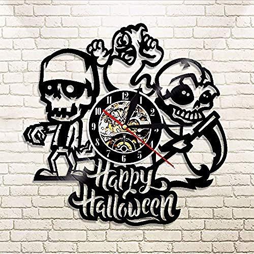 TXYANG Record Vinyl Wall Clock 1 Pieza Feliz Halloween Cráneo Y Fantasma Hardcover from Vinilo Registrations from Longplay Vinilo Pared Arte Decoración Regalo para Cráneo from Los Amantes