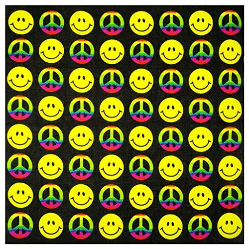Gjyia Buntes geometrisches Lächeln-Gesichts-Friedenssymbol-Unisexbaumwolltaschen-Quadrat-Schal-Sommer-Stirnband Bandana Hip-Hop Wristband-Hals-Krawatte