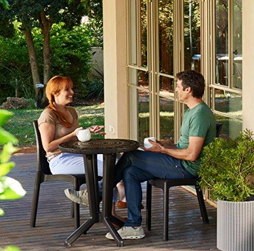 Mosaik Bistro Stuhl (Koll Living Terrassen-Set / Lounge Set / Bistro-Set: 2x Stühle, 1x Mosaik-Tisch, braun - In toller Mosaik Optik)