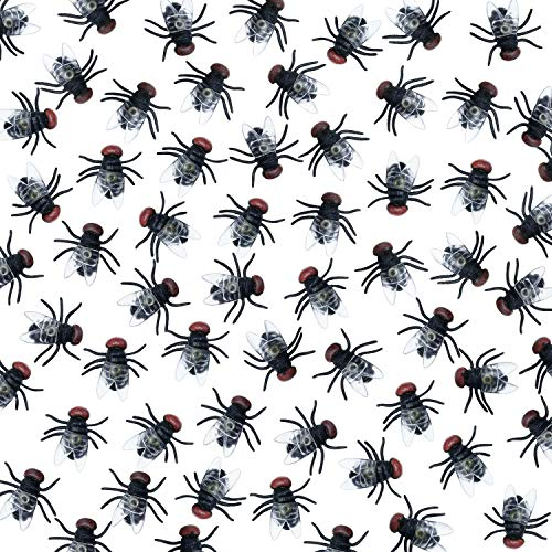 Gejoy Plastik Fliegen Halloween Streich Ffliegt Käfer Gefälschte Insekten Fliegen Spielzeug Streich Witz Spielzeug für Party Lieferungen Requisiten(100 Stücke)