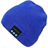 PJYU Auriculares del Sombrero de la Gorrita Tejida de Bluetooth Sombrero Lavable del Invierno Casquillo de Punto Altavoz inalámbrico Mic Incorporado Hombres Mujeres Chica Adolescent (Azul)
