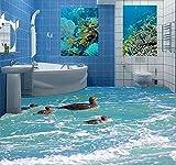 Malilove 3D Piano Pittura Wallpaper Uccelli Acquatici Acqua Anatra 3D Il Pavimento Del Bagno Dipinto Autoadesivo In Pvc Wallpaper