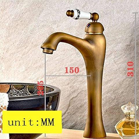 Grifo de oro retro de estilo europeo, lavabo de cobre de un solo agujero caliente y frío solo grifo, grifo de baño del hotel ( Color : Copper-04