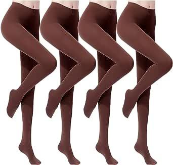 ANDIBEIQI 4 Pair Collant Compressione Forte,Calze Riposante,Pantacollant Suppo,Collant calze opache Tights Leggings Donna Inverno Calzini 120D