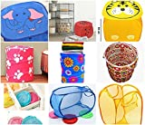 #5: Ketsaal Foldable Collapsible Net Pop-Up Laundry Basket Bag, Net/Mesh Bag, Square Cute Animal Print Bag for Kids for storage of Clothes, Toys Etc.(FAMILY PACK of 3)