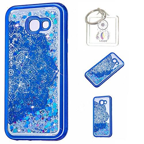 Preisvergleich Produktbild Hülle Galaxy A5(A520F)2017 Hülle Transparent Hardcase,3D Galvanotechnik TPU Kreative Liquid Bling Hülle Case Für Samsung Galaxy A5(A520F)2017,Dynamisch Kristall Handytasche + Schlüsselanhänger (A) (1)