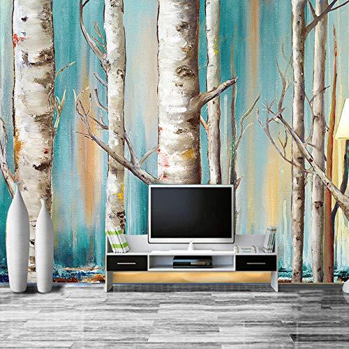 Fototapete Moderne Weiße Birken Ölgemälde Tv Sofa Hintergrund Tapete Wohnzimmer Schlafzimmer Wandverkleidung - Birke Wohnzimmer Sofa