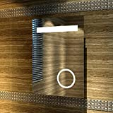 Design LED Badezimmerspiegel Badspiegel Lichtspiegel mit Schminkspiegel mit Beleuchtung IP44 [Energieklasse A+] 50 x 70cm
