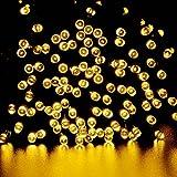 lederTEK - Stringa di Luci a Energia Solare Impermeabile - 22m 200 LED 8 Modi - Lampada Decorativa (200 LED Bianco Caldo)