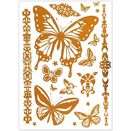 EROSPA® Tattoo-Bogen temporär - Aufkleber Schmetterlinge Gold - 20 x 15 cm -
