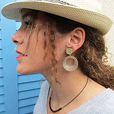 Boucles d'oreilles à clips Créole nacre beige