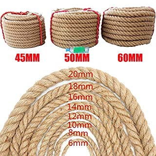10M Strong Hemp Rope Thick Garden Jute Rope String Art Craft Twine For Gift Packing Garden (22mm x 10m)