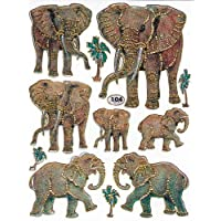 Elephant Animal 1 Sheet 135 mm x 100 mm Sticker Craft Sticker 11 Pcs Colourful Party Metallic Look