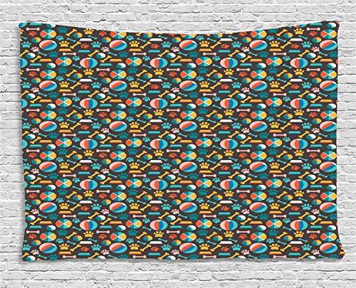 ABAKUHAUS Hunde Wandteppich, Welpenfutter Spuren und Spielzeug, Wohnzimmer Schlafzimmer Heim Seidiges Satin Wandteppich, 150 x 100 cm, Mehrfarbig