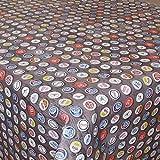 Premium Wachstuch PS Kronkorken Bier Braun · Eckig 140x550 cm · Länge wählbar· - abwaschbare Tischdecke