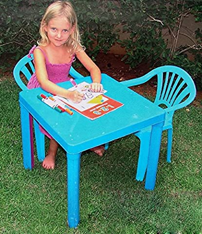 PLASTIC CHILDRENS TABLE & CHAIRS SET COLOURED NURSERY INDOOR OUTDOOR GARDEN KIDS (BLUE TABLE WITH 2 CHAIR)
