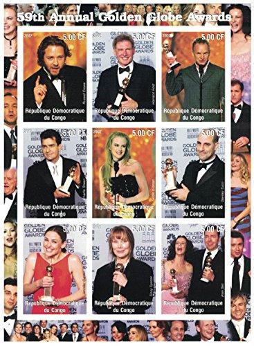 Briefmarken für Sammler-imperforfate Stempel Tabelle mit 59th einjährig Golden Globe Awards/Russell Crowe/Harrison Ford/Nicole Kidman/Demokratische Republik Kongo -