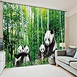 Yifengjubao Vorhänge 3D-Vorhänge 3D-Bambus-Panda-Digitaldruck Schalldämmung Wärmedämmung Schattierung Hauptdekor-Schlafzimmer 2 Panels,Width203*High160cm