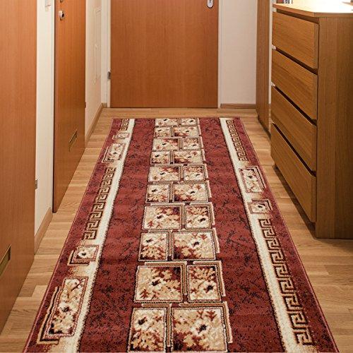 Läufer Teppich Flur Brücke - Muster Griechisch in Braun - Teppichläufer Klassisch Kollektion 80 x 150 cm (Wirklich Schön, Staubsauger)