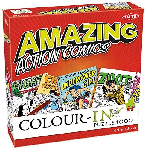 Tactic Colour-In Puzzle Amazing Action Comics 1000 pcs Puzzle - Rompecabezas (Puzzle Rompecabezas, Comics, Niños y Adultos, Niño/niña, 9 año(s), Interior)
