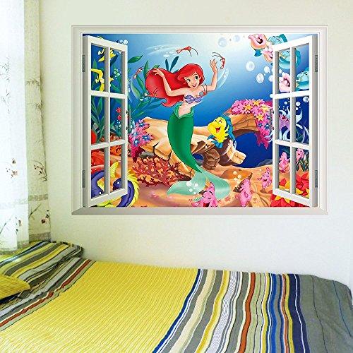 ufengke home Wandaufkleber Meerjungfrau Unterwasser Cartoon Wandsticker -Inspiriert Under The Sea Wandtattoo 3D Ansicht Außerhalb des Fensters Aufkleber Abnehmbare DIY für Kinderzimmer,Babyzimmer
