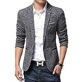 BiSHE, Jackett / Blazer für Herren, mit einem Knopf, leicht, stilvoll, Leinen, schmale Passform Gr. Large, grau
