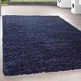 HomebyHome Shaggy Hochflor Langflor Günstige Marineblau Teppiche Wohnzimmer versc. Größen, Größe:120 cm Rund