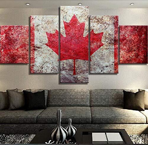 wkoqel Bilder 5 Teilig 5 Stück Leinwand Kunst Kanada Flagge Poster Moderne Dekorative Gemälde Leinwand Wandkunst für Hauptdekorationen Wanddekor Kunstwerk Rahmenlos
