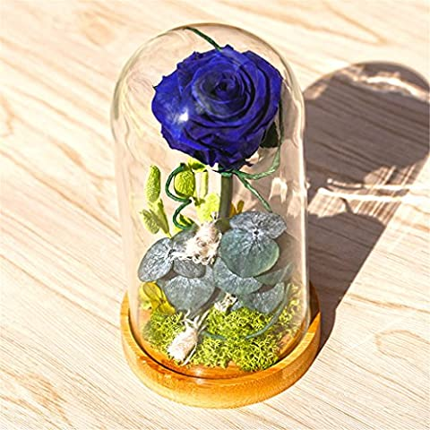 Beauty und The Beast Rose, Live Forever Rose in Glas, Live Enchanted Rose, Rose% 100 Natur D (Lavendel Calla-lilien)