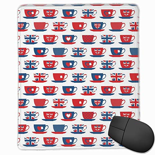 Mouse Mat Stitched Edges, Great Britain Themed Teacup Forms Patterned Union Jack Hearts Flags,Gaming Mouse Pad Non-Slip Rubber Base -