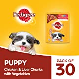Pedigree Puppy Wet Dog Food, Chicken And Liver Chunks Flavour in Gravy with Vegetables, 30 Pouches (30x70g)